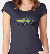 Back to the Future Delorean   Car   Cult Movie Women's Fitted Scoop T-Shirt