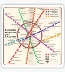 Soviet Poster - Moscow Metro Map (1980) Sticker
