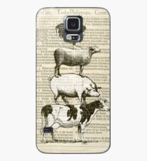 Vintage Stacked - Cow, Pig, Sheep & Chicken on Bible Page Case/Skin for Samsung Galaxy