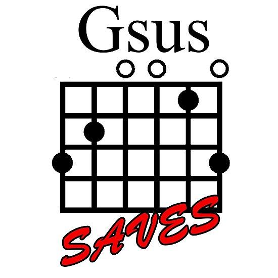 Jesus Saves Gsus Saves Guitar Chord Photographic Prints By
