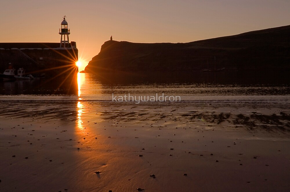 sun set over Port Erin Bay by kathywaldron