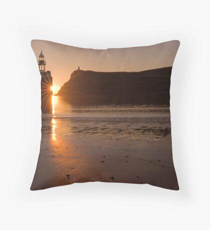 sun set over Port Erin Bay Throw Pillow