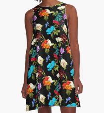 Wild rose, poppy flowers and cornflowers with leaves on black. A-Line Dress