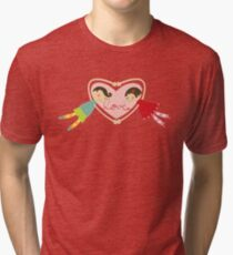 Valentine Heart Cartoon Boy Loves Girl II Tri-blend T-Shirt