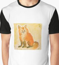 Bushy Watercolor Fox Graphic T-Shirt