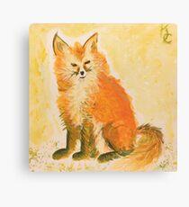 Bushy Watercolor Fox Canvas Print
