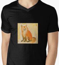 Bushy Watercolor Fox Mens V-Neck T-Shirt