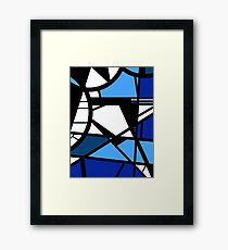 Mirror Blue Contemporary shattered glass abstract art Framed Print