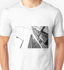 pyramid building and modern building in black and white at San Francisco, USA Unisex T-Shirt