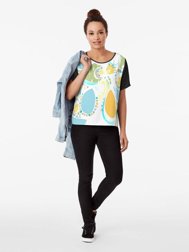 Alternate view of Tropical Bird Abstract Pattern  Chiffon Top