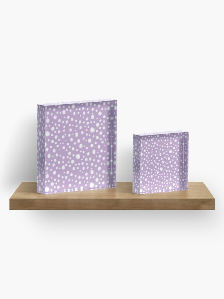 Alternate view of Minimal dots dotted pattern painted dot lilac purple and white minimalist art and decor by CharlotteWinter Acrylic Block