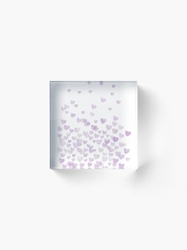 Alternate view of Hearts falling painted pastels purple heart pattern minimal art print nursery baby art by CharlotteWinter Acrylic Block