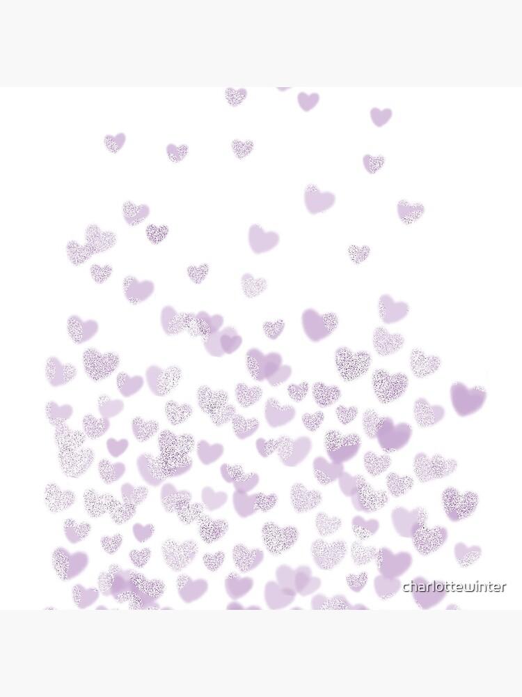 Hearts falling painted pastels purple heart pattern minimal art print nursery baby art by CharlotteWinter by charlottewinter