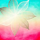 Gold Flower on Turquoise and Pink Watercolor  by Tangerine-Tane