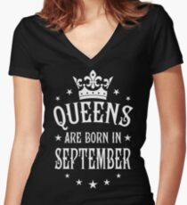 Queens are born in September Happy Birthday Queen Women's Fitted V-Neck T-Shirt