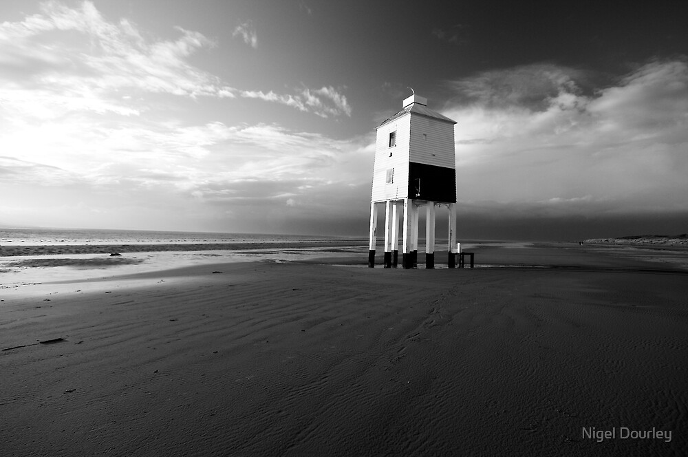 Lighthouse on the Beach (b+w) by Nigel Dourley