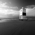 Lighthouse on the Beach (b+w) by Nigel Dourley