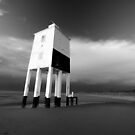 Leaning Lighthouse (b+w) by Nigel Dourley