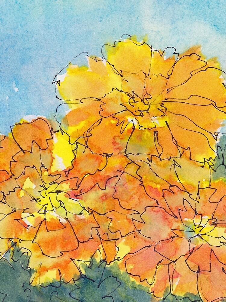Merry Marigolds! by shinypennyart