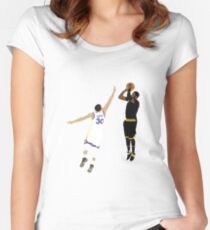 Kyrie Irving Clutch Shot Over Stephen Curry Women's Fitted Scoop T-Shirt