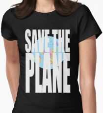 Flat Earth Designs - SAVE THE PLANE Women's Fitted T-Shirt