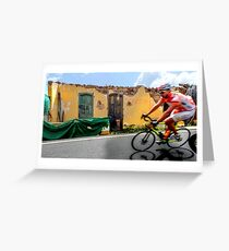on the road by bike Greeting Card