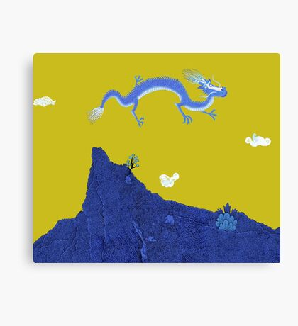 Blue Dragon and Mountain Canvas Print