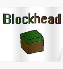 Blockhead voxel cube Poster