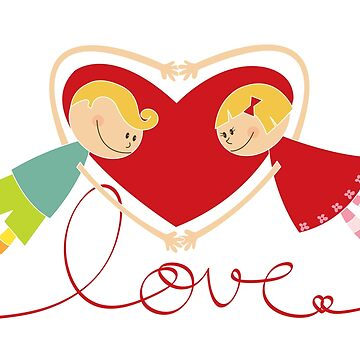 Valentine Heart Cartoon Boy Loves Girl III by fatfatin