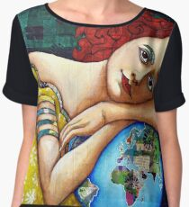 Protect : portrait of a Gaia (Mother Earth Goddess) Chiffon Top
