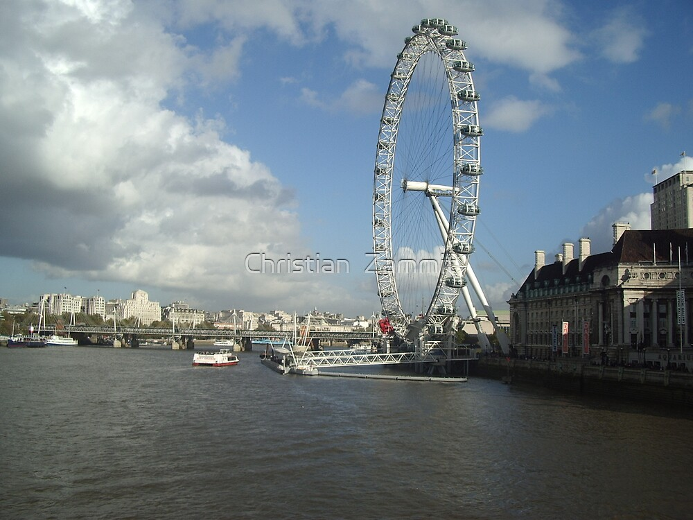 London Eye and River Thames by Christian  Zammit