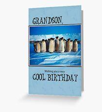 Grandson Birthday, Penguins Greeting Card