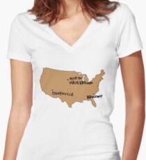 Ogdenville, North Haverbrook and Brockway Women's Fitted V-Neck T-Shirt