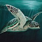 """Moonlit"" by Amber Marine ~ Acrylic sea turtle painting, art © 2015 by Amber Marine ~ Wildlife Artist"