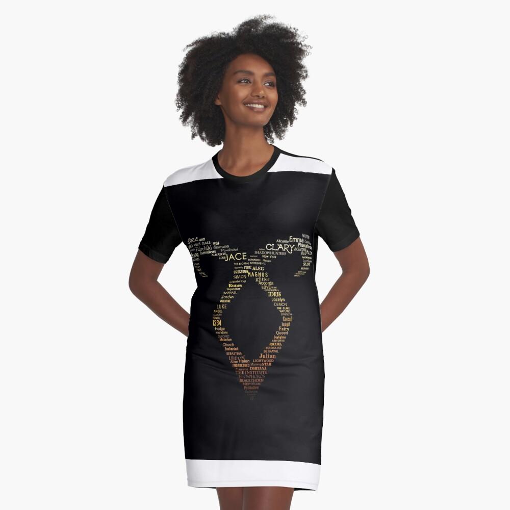 Angelic Rune Graphic T-Shirt Dress Front