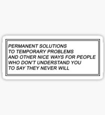 Permanent Solutions Sticker