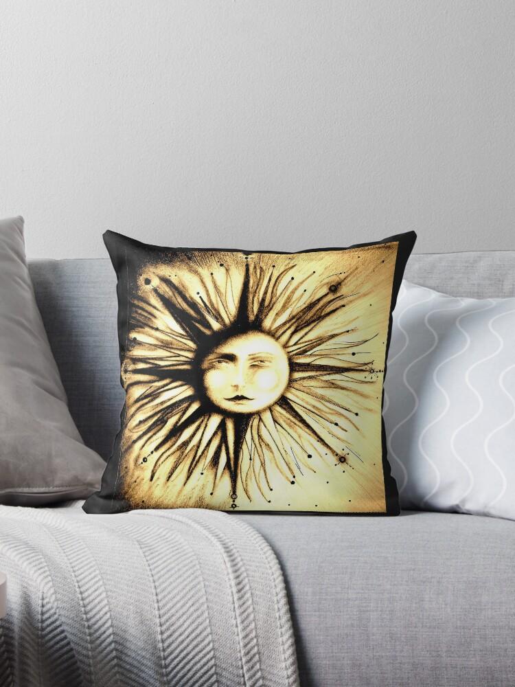 'op art sun face astrology stars deco man in moon art ' Throw Pillow by  jacquline8689