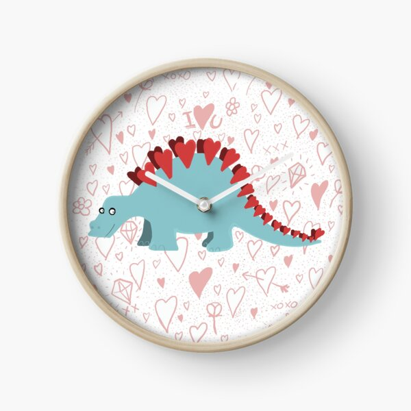 Stegosaurus of love- hearts and kisses Clock
