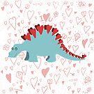 Stegosaurus of love- hearts and kisses by Andrea England