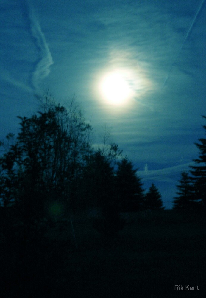 Moon with Contrail by Rik Kent