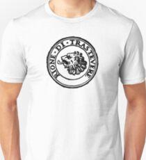 Next Stop Rione Trastevere Black Text Unisex T-Shirt
