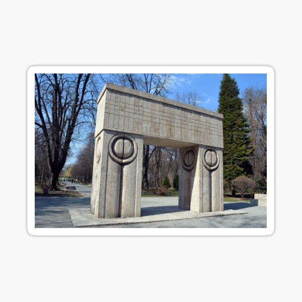 TARGU JIU, ROMANIA  MARCH 15 2017  Gate of the Kiss. translation Poarta Sarutului It is a stone sculpture made by Constantin Brancusi. It's locateted in Targu Jiu, Romania. Sticker