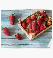 Strawberry natural healthy nutrition organic food in rustic  on vintage wooden background. Vegetarian, full of vitamin dessert Poster