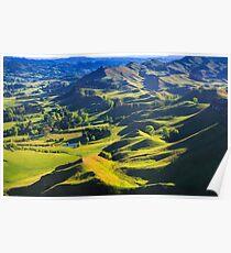 green hills landscape, location - New Zealand Poster