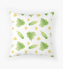 Watercolor Cucumber Pattern Throw Pillow