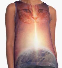 Funny Cats In Space Contrast Tank