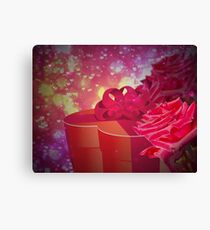 Gift box and roses Canvas Print