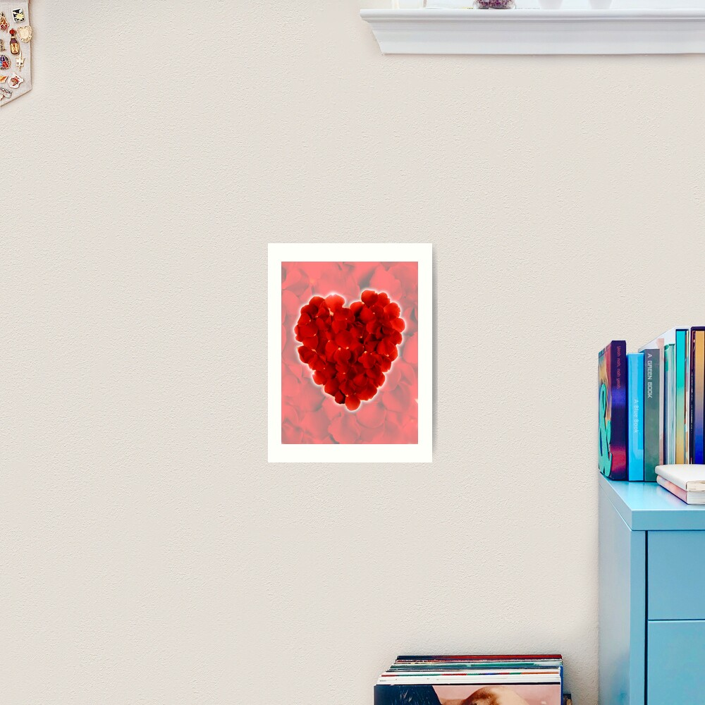 Rose petal heart 3 Art Print