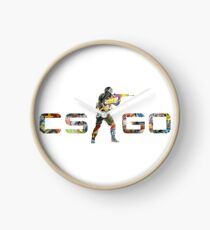 CS GO Stickers Logo Clock