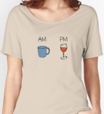 AM Coffee PM Wine  Women's Relaxed Fit T-Shirt